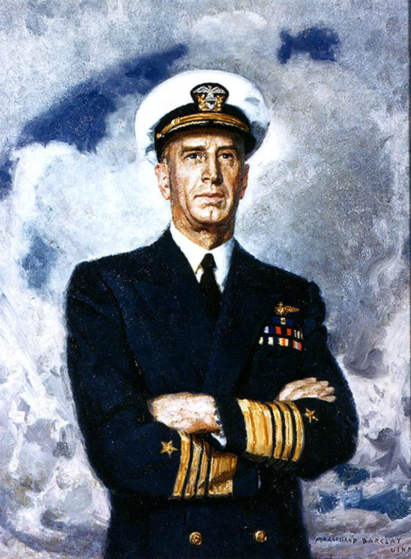 In March 1942, Admiral Ernest J. King relieved Admiral Harold Stark as Chief of Naval Operations. King thus became the the first and only officer to simultaneously serve as Chief of Naval Operations and Commander, U.S. Fleet. Later promoted to Fleet Admiral, King served as President of the Naval Historical Foundation from 1946-1949. This portrait of King by McClelland Barclay, USNR, was painted during World War II (National Archives photo 80-G-K-13800)