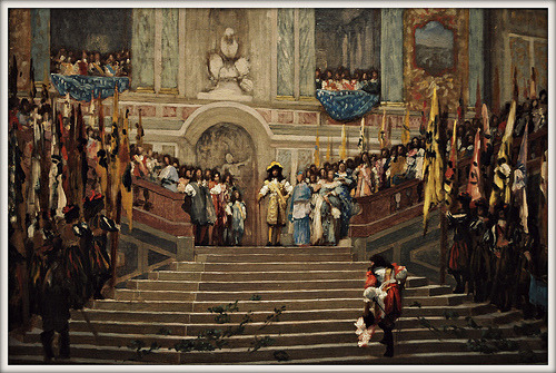 Louis XIV Receiving Prince De Conde at Chateau Versailles by Jean Leon Gerome France, 1878 Painting, Oil on canvas D'Amour Museum of Fine Arts (Springfield, Massachusetts)