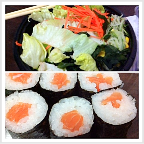 Salmon maki sushi with salad (Japanese ginger, corn, lettuce, cabbage, seaweed)
