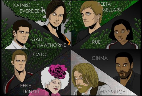 badhungergamesfanart:  Effie appears to be Haymitch in drag. Haymitch looks as surprised as anyone. Katniss meanwhile is 70 years old, suffering from a severe morphling addiction and botched plastic surgery on her lips andARGH RUE'S EYES THEY ARE STARING INTO MY SOUL MAKE IT STOP