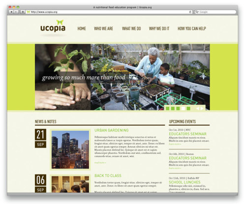 Ucopia Brand System A New Hampshire-based non-profit start-up contacted me looking for some help with their brand. The organization focused on teaching school-age kids about gardening and food in an effort to help curb the Nation's obesity problem. The brand system features a butterfly logo mark (chosen for its strong ties to spring and gardening) based on an origami butterfly (to imply the fact that the kids can make their own food). The origami butterfly becomes an easy-to-replicate touchpoint for the brand. Learning to fold the butterfly is a fun and very memorable way to create a unique brand experience. The website, print ad and business card were only developed to show examples of how the brand could live in the system. Design :: Evan MacDonald