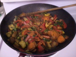 Potatoes Stir Fry - Vegan Meal,Bake Potatoes first, then heat up all vegetables (Whatever you wish to put in), once it is 1/4 cooked, add Potatoes that was baked and mixes it. I even add thin sliced sweet potatoes (It doesn't need to be baked because it can get cooked so quicker than regular potatoes)Serve! Hint: Dont cook it fully, or you lose its value.  Half cooked, hald raw on vegetables is best taste than coked fully.I add Curry Spices for a spicy hit in throat.