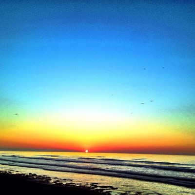 Coastal sunrise. #tx #galveston #beach #sun #sky #sunrise #morning #dawn (Taken with Instagram at East beach)