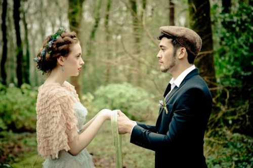 "bride2be:  Handfasting: Handfasting is an ancient Ireland Celtic tradition, in which a man woman came together at the start of their marriage relationship. Each partner holds the hands of the other, right hand to right hand, left hand to left, their wrists crossed. The ribbon is wound around the wrists over the top of one and under and around the other, creating the infinity symbol. The practice gave way to the expression ""tying the knot"". So fun to learn what that phrase came from! (via Irish Wedding Traditions 