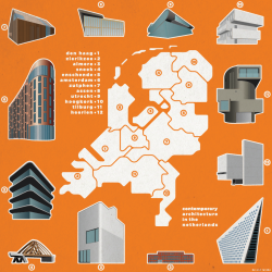 Contemporary architecture of the netherlands by provinces. Subjective map by Olaf Łyczba from Budapest, Hungary.