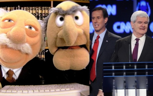 "theatlantic:  Newt and Rick Are Becoming the GOP's Statler and Waldorf  Newt Gingrich and Rick Santorum have withered from being Mitt Romney's legitimate competitors into mere ""hecklers,"" Politico's Jonathan Martin writes. The scenarios by which they could win the Republican nomination are becoming more and more ""far-fetched,"" their rhetoric becoming more desperate. The Atlantic Wire would like to take this image one step further, naming them then Statler and Waldorf of the Republican presidential primary — guys that never get to be the main characters, instead serving as a tool to lower the self-esteem of those Muppets who do. […] The Times' Trip Gabriel reports that even ""humiliation has not changed [Newt's] will to stay in the race."" His colleagues Jeff Zeleny and Sarah Wheaton write, ""The question facing Mr. Santorum was not whether he intended to press forward with his candidacy, but whether he should."" Both men, several reports say, are making less progress towards winning the nomination than towards embarrassing Romney on the daily. Both Gingrich and Santorum toted Etch-a-Sketches last week when a Romney aide referenced the toy to explain how the candidate would pivot to a general election message. They looked cynical and trivial, just like classic hecklers from the Muppets, though without the jokes. Read more at The Atlantic Wire.   Dead on. In this case, ""playing spoiler"" is a nice way of saying ""wasting everyone's time."""
