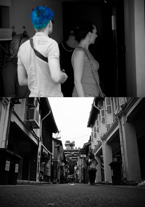 On a lighter note, I visited Haji Lane to shoot a few days back, pretty cool hipster place! but mostly female clothing. There was an angmoh with electric blue hair that really striked me as intriguing. Well didn't manage to get any good shots but here's just two of them including the blue haired angmoh.