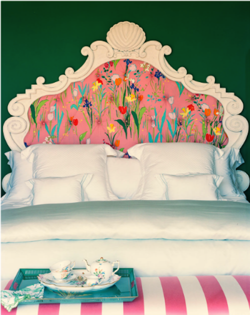 firsthome:  kind of love that tulip and daffodil print headboard even though it is only appropriate for about a month out of each year