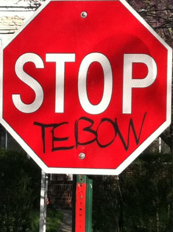 Jets fans are expressing their opinion of Tim Tebow through public vandalism.