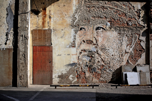 Vhils in Shanghai (via Wooster Collective)