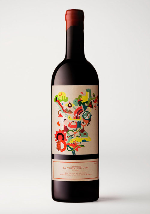 Packaging for La Vinya Del Vuit Wine.. a contemporary design for a very old vineyard that uses artisanal vinification methods.