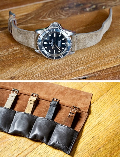 Hodinkee's New Watch Straps and Accessories Watch masters, Hodinkee get into the ecommerce game with the launch of the Hodinkee online shop today. Inside wristwatch fans will find a variety of replacement straps in various colors and suede, smooth leather and textured leather. More than 15 styles are available. As well those looking for watch travel pouches and watch rolls (think chef knives) will find some help keeping their timepieces safe and sound. The leather straps are hand-made in Italy and individually unique.