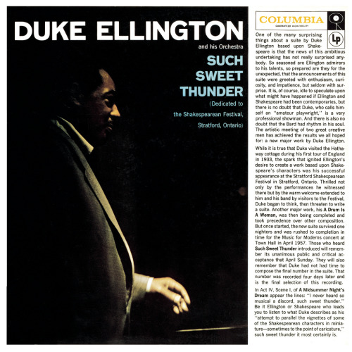 "Duke Ellington wrote this music, ""Such Sweet Thunder"", based on Shakespeare's Comedy ""A Midsummer Night's Dream"""