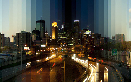 vibrant-pulse:  Each photo is 12 minutes apart, assembled with no measurements in place (obviously) with Photoshop. No exposure adjustments or color compensations.  MY CITY :)
