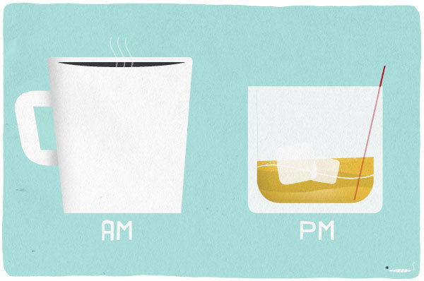 weandthecolor:  The AM - PM Drinks Illustration by graphic designer Matthew Hollister. via: MAG.WE AND THE COLORFacebook // Twitter // Google+ // Pinterest