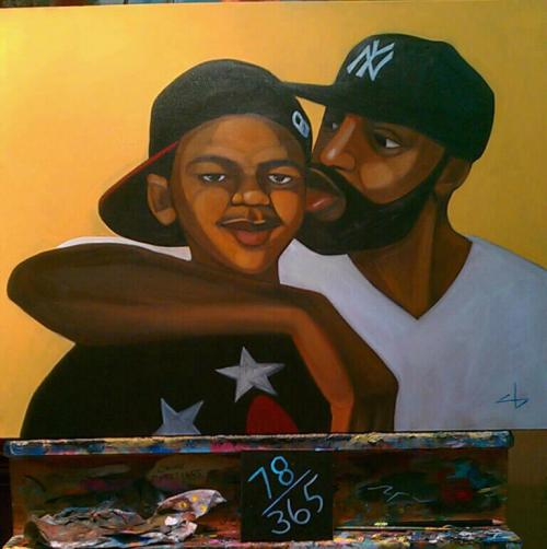 """R.I.P. Trayvon (78/365)"" Painting, 2012 Cbabi Bayoc  ""It took me awhile to decide to do this piece. But realizing this is one of the biggest news makers of the year, and another tragic story of losing one of our boys too soon, I had to include this beautiful photo. Our teen boys have so much coming at them. If not racial inspired ignorance, it's someone within our community trippin. There is a Trayvon experience everyday for a mom and dad. Regardless of what happens legally, there is good in this experience… We can come together when we really want to. Protect your boys y.all!""  Check out Cbabi Bayoc's 356 Days with Dad Project."