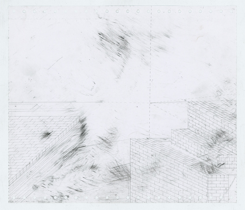 "Place_ (Study for comic abstraction based on and unrelated to Martin Heidegger's ""The Concept of Time"") charcoal and pencil on paper."