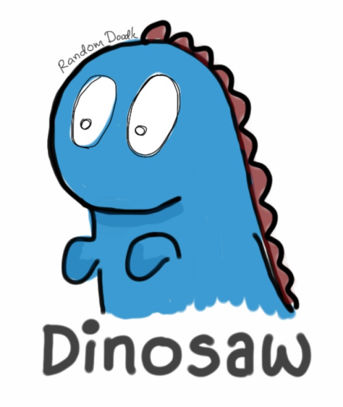 Dino drawn on an iPad