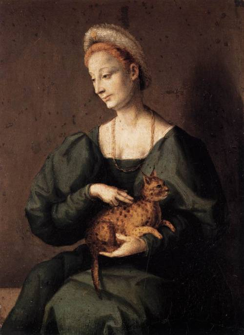 BACCHIACCA (1494-1557) Woman with a Cat 1540s Oil on poplar, 26 x 19 cm Staatliche Museen, Berlin  This casual small picture of a woman holding a cat shows the Renaissance fondness for exotic pets; women were also depicted with squirrels and rabbits close to hand.