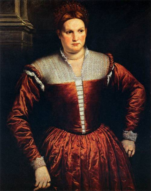 BORDONE, Paris (1500-1571) Portrait of a Woman 1550s Oil on canvas, 107 x 83 cm Galleria Palatina (Palazzo Pitti), Florence  The rich red silk is alive in every crease, while the smooth bodice undoubtedly restrained only by a hinged iron cage, invented about this time.