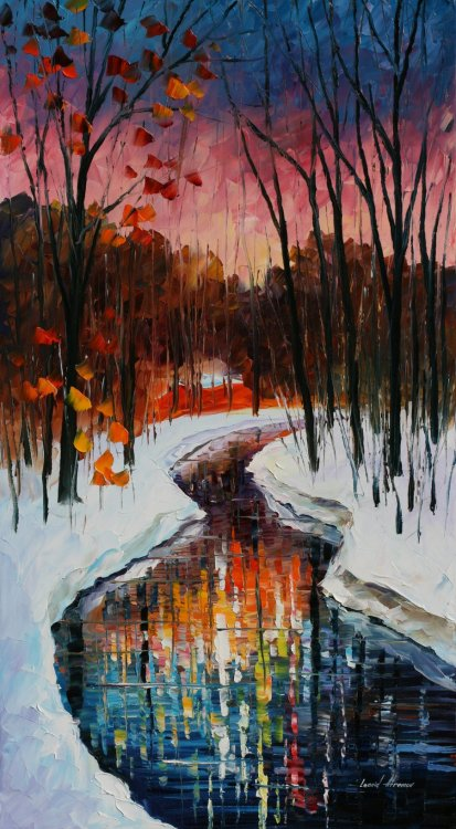 artchipel:  Leonid Afremov - Winter stream. Natural oil on 100% pure cotton canvas