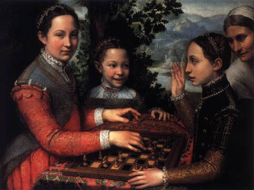 ANGUISSOLA, Sofonisba (1530-1625) Portrait of the Artist's Sisters Playing Chess 1555 Oil on canvas, 72 x 97 cm Muzeum Narodowe, Poznan