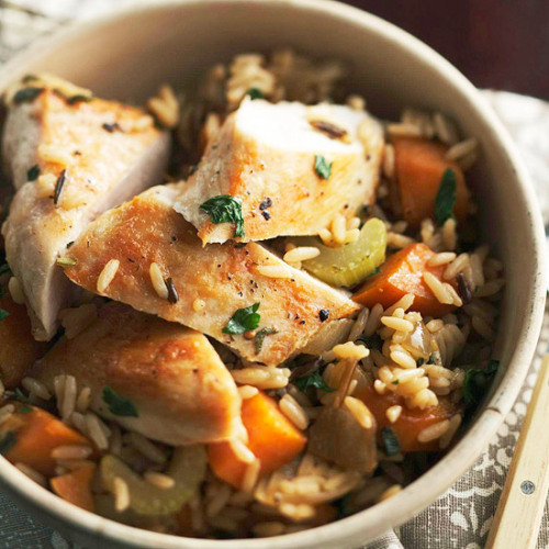 Daily Dish: Our hearty Chicken and Roasted Vegetable Rice dish offers fresh herbs and nutritious veggies. Prep takes just 20 minutes!