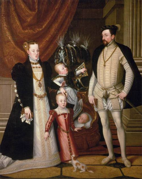 ARCIMBOLDO, Giuseppe (1526-1593) Maximilian II, His Wife and Three Children 1563 Oil on canvas, 240 x 188 cm Kunsthistorisches Museum, Vienna  Portrayed next to Archduke Maximilian II is his wife Maria of Spain and three of their children. In front is the oldest daughter, Anna, the later wife of Philip II of Spain, behind are the sons Rudolf, later Emperor Rudolf II and in the cradle Archduke Ernst.