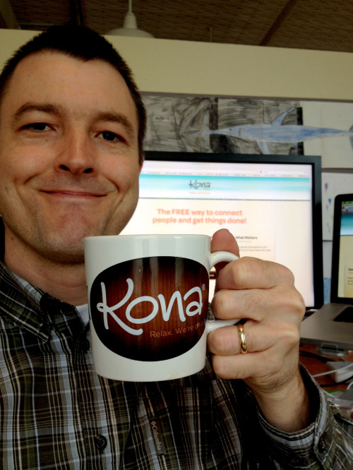 "Mugshot Monday - ""Kona.com: Relax. We're on it."" coffee mug with Birchwood Blend by Peace Coffee This is my new Kona.com coffee mug! Kona is a new client for Ciceron (where I work) and I'm guessing you haven't heard of them before. Kona is like project management software for your personal life. You can get your tasks organized, which is cool. But you can also invite people to a private ""Space"" for these tasks if you need to collaborate and get stuff done. What's really cool is that Kona allows for all the conversations associated with tasks!  No more email threads that I can't find or figure out what was said last. Very nice. Oh, KONA IS TOTALLY FREE, BTW! Get an account here. And be sure to let me know if you sign up. I need to know if you like it or if you don't like it. (email me: karl[at]ciceron[dot]com) See the entire Mugshot Monday Facebook gallery at www.MugshotMonday.com, or read more posts like it on this blog"