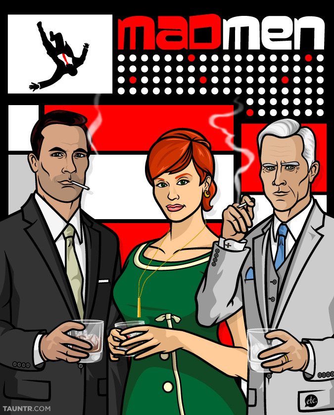 Mad Men drawn as Archer characters by Jon Defreest for Tauntr.com.