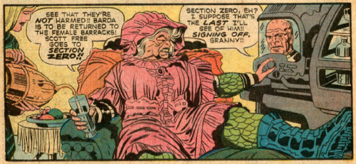 Mister Miracle #7 (1972). Art by Jack Kirby. This counts, because as you all know Granny Goodness is nothing but Darkseid in drag. (Submitted by Koltron)
