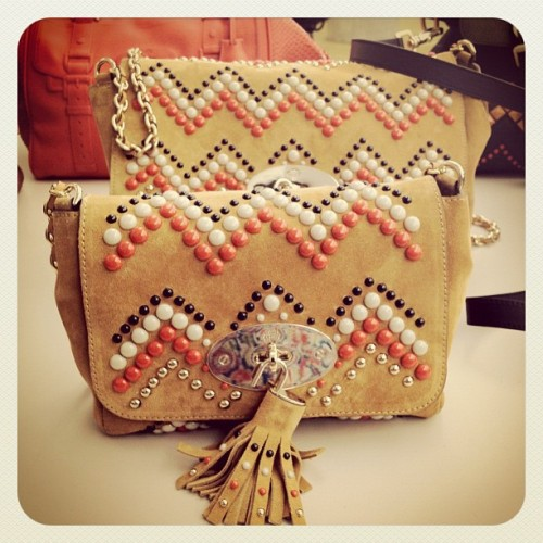 Beaded handbags from Mulberry's fall 2012 collection, snapped by Danica Lo.