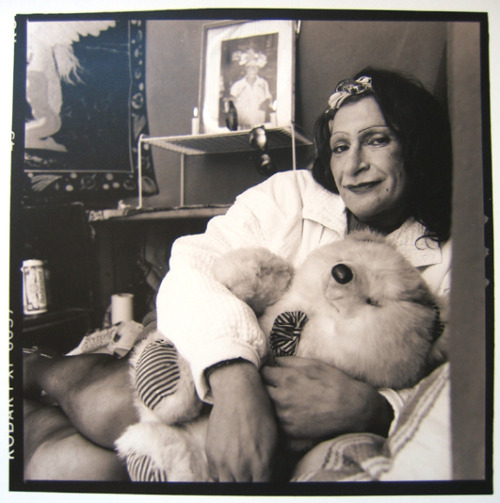 "thegang:  Portrait of Sylvia Rivera (1951-2002) posing in front of her altar to Marsha P. Johnson (1944-1992), by Valerie Shaff, ca. 2000 In the early 1970's Sylvia Rivera and Marsha P. Johnson co-founded S.T.A.R., Street Transvestite Action Revolutionaries, an organization designed to achieve rights for her community, and provide social services to this largely ignored and stigmatized group. For a short while she and Marsha P. Johnson ran S.T.A.R. House which provided shelter for homeless young street queens. Lack of funds and problems with the certificate of occupancy for S.T.A.R. House, forced the abandonment of the venture at that time, but Rivera never lost the dream of creating a supportive and safe living space for young transgender people. Rivera was greatly disillusioned with the desire of many early gay and lesbian activists to distance the gay movement from transvestites, drag queens, and other gender variant people, in spite of the fact that these people were often the ""shock troops"" for the entire gay community. The Sylvia Rivera Law Project notes, A veteran of the 1969 Stonewall uprising, Sylvia was a tireless advocate for all those who have been marginalized as the ""gay rights"" movement has mainstreamed. Sylvia fought hard against the exclusion of transgender people from the Sexual Orientation Non-Discrimination Act in New York, and was a loud and persistent voice for the rights of people of color and low-income queers and trans people. (via afrodiaspores)   Sylvia Rae Rivera has been my hero since i was 15 years old.  I admire her, everything she did and what she stood for.  <3"