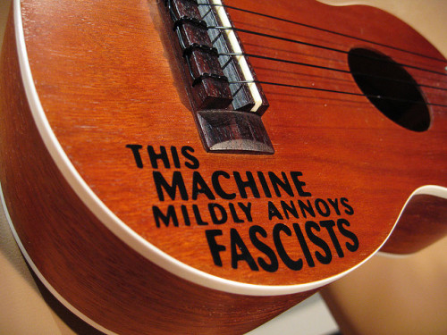 woodyguthriesamerica:  This Machine Mildly Annoys Fascists (Ukulele) by raycadaster on Flickr.