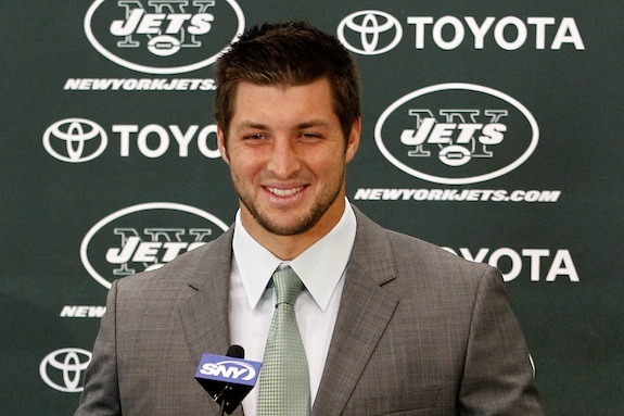 "Tim Tebow says ""excited"" 32 times in his New York Jets press conference"