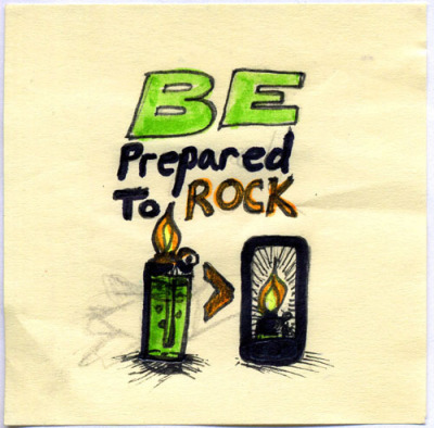 Be Prepared To Rock - sketch Random doodle for today, March 26th. Possible 4 words design for the Threadless design challenge.