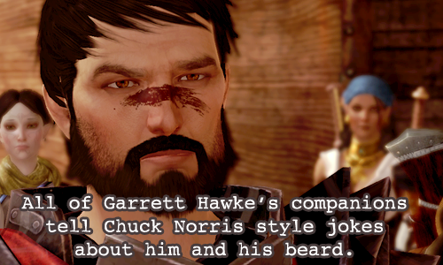 Hawke thinks that either Varric or Isabela started it but really it was Fenris and Donnic when they were playing diamondback one night. — cevvie