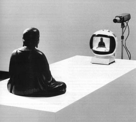 "candeenafly:   - Nam June Paik, TV Buddha ""To me, at least in retrospect, the really interesting question is why dullness proves to be such a powerful impediment to attention. Why we recoil from the dull. Maybe it's because dullness is intrinsically painful; maybe that's where phrases like 'deadly dull' or 'excrutiatingly dull' come from. But there might be more to it. Maybe dullness is associated with psychic pain because something that's dull or opaque fails to provide enough stimulation to distract people from some other, deeper type of pain that is always there, if only in an ambient low-level way, and which most of us spend nearly all our time and energy trying to distract ourselves from feeling directly or with our full attention. Admittedly, the whole thing's pretty confusing, and hard to talk about abstractly…but surely something must lie behind not just Muzak in dull or tedious places anymore but now also actual TV in waiting rooms, supermarkets' checkouts, airports' gates, SUVs' backseats. Walkmen, iPods, BlackBerries, cell phones that attach to your head. This terror of silence with nothing diverting to do. I can't think anyone really believes that today's so-called 'information society' is just about information. Everyone knows it's about something else, way down."" - David Foster Wallace, The Pale King (forward)  friendlyfields:"