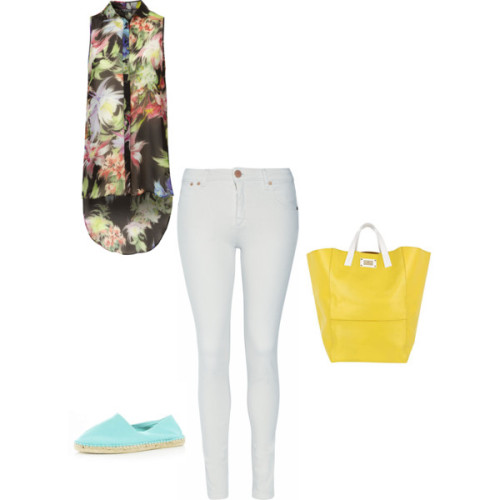 OUTFIT OF THE WEEK PART 3: FAB FLORALS   DVb Victoria Beckham denim stretch pants, £170Topshop Orchid Print Extreme Drop Shirt, £36River Island flat espadrille shoes, £9.99River Island Oversized leather tote, £100