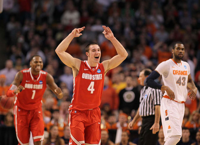 Ohio State guard Aaron Craft celebrates after the Buckeyes eliminated Syracuse to advance to the Final Four. (Damian Strohmeyer/SI)  GALLERY: Best Photos From Sweet 16GLOCKNER: OSU survives tumultuous seasonWINN: Previewing this weekend's Final Four