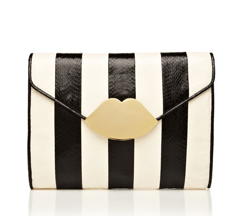 Black and White Clutch The cheeky lips clasp on this black and white clutch from Lulu Guinness make it a stand out accessory perfect for almost any occasion.