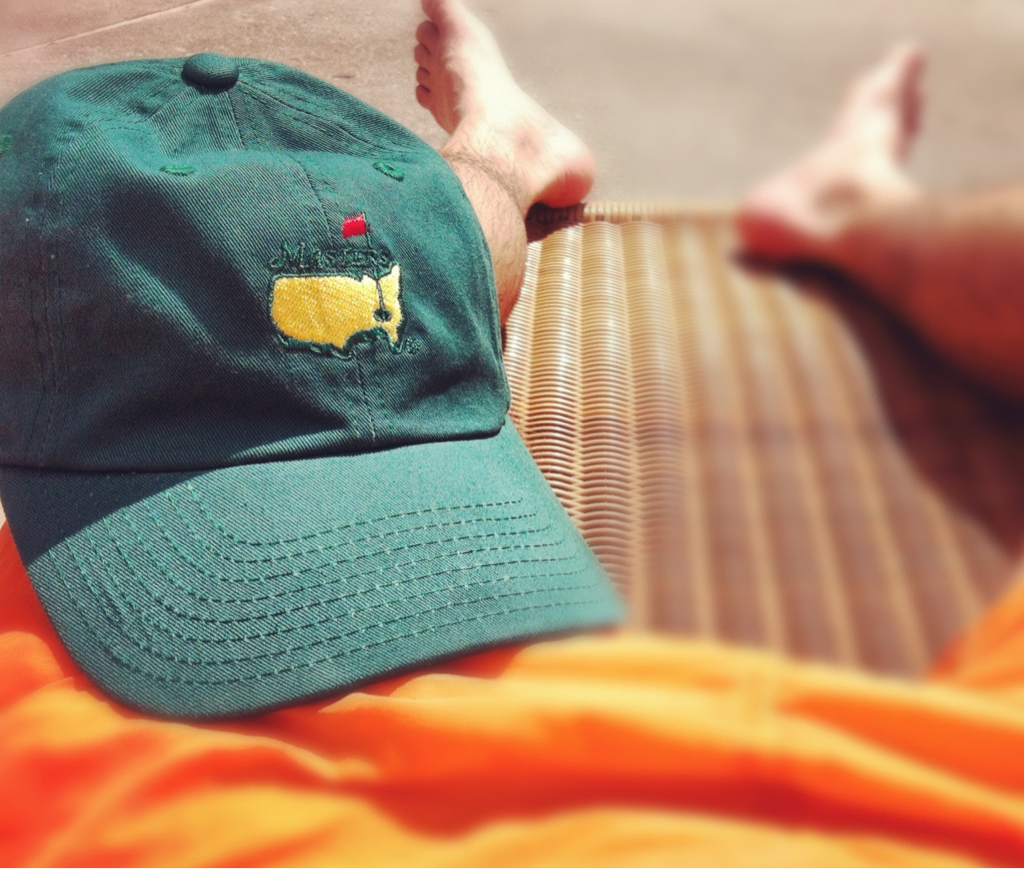 By the pool:  Ready for The Masters