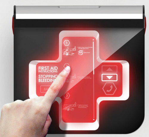 First Aid 2.0 First Aid 2.0 features a LED Red Cross panel that displays step-by-step instructions on how to administer first aid, relevant to the injury. It even has a GPS tracking system and can inform you about the nearest hospital or clinic. In the stressful situation of an emergency, this kit helps refines the process, which is the crucial first step in saving lives. (Details) www.neverfail.co
