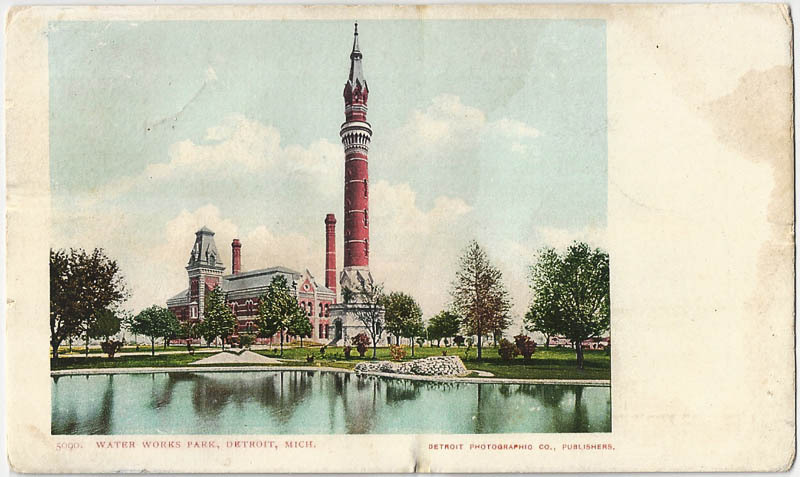 The Detroit Waterworks Park. Long ago… Off Jefferson Avenue. The building remains glorious just east of the Joseph Barry subdivision where the Mayor and Kid Rock live (not together). I believe the large clock tower was moved to Greenfield Village. It's one of my favorite structures in the city.