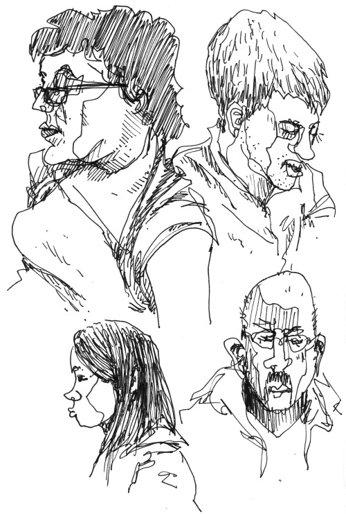 People on the NYC subway. Ink in a Moleskine.