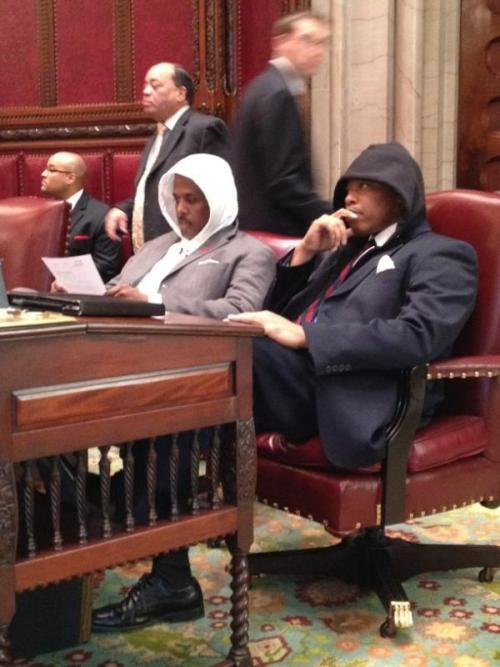 "racismschool:  iamtrayvonmartin:  #wearetrayvonmartin #iamtrayvonmartin #justice4trayvon ""NYS Senator Eric Adams and his colleagues memorialize Trayvon Martin during the March 26, 2012 senate legislative session"" via Facebook  I LOVE THIS! I LOVE THIS WITH MY ENTIRE HEART!"
