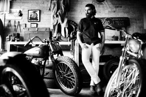 holdfastmotors:  Bitching beard and some awesome motor bikes….thanks Anchor Division for the picture.