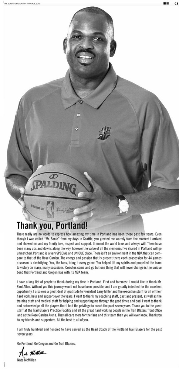 Former head coach Nate McMillan thanks Portland fans with a full-page newspaper ad.