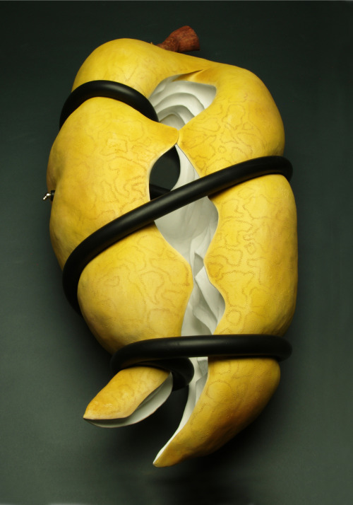 Steve Belz: Conflict of Purpose, 2010, Low fire ceramic, washes, rubber, stainless steel and acrylic paint, 11H x 40W x 17D inches (alternative view)