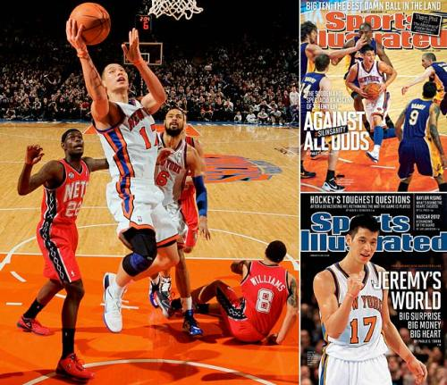 Jeremy Lin, New York Knicks  Feb. 4-15 — Linsanity breaks out  Jeremy Lin, a previously little-known Harvard grad, became a legend in early February, captivating the world with his improbably strong — if turnover heavy — play. It started on Feb. 4 as he scored 25 points and made seven assists off the bench in a comeback win over New Jersey. He went on to lead the then-reeling Knicks to seven consecutive wins. Not bad for a guy who had been crashing on his brother's couch.  [Image Source: SI.com; Photographers: Nathaniel S. Butler/NBAE via Getty Images; Heinz Kluetmeier/SI; Chris Trotman/Getty Images]